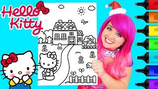 Coloring Hello Kitty House Coloring Book Page Prismacolor Colored Paint Markers | KiMMi THE CLOWN