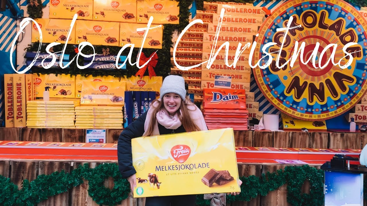 Winning a massive bar of chocolate at Oslo Christmas Market | Exploring Norway in Winter
