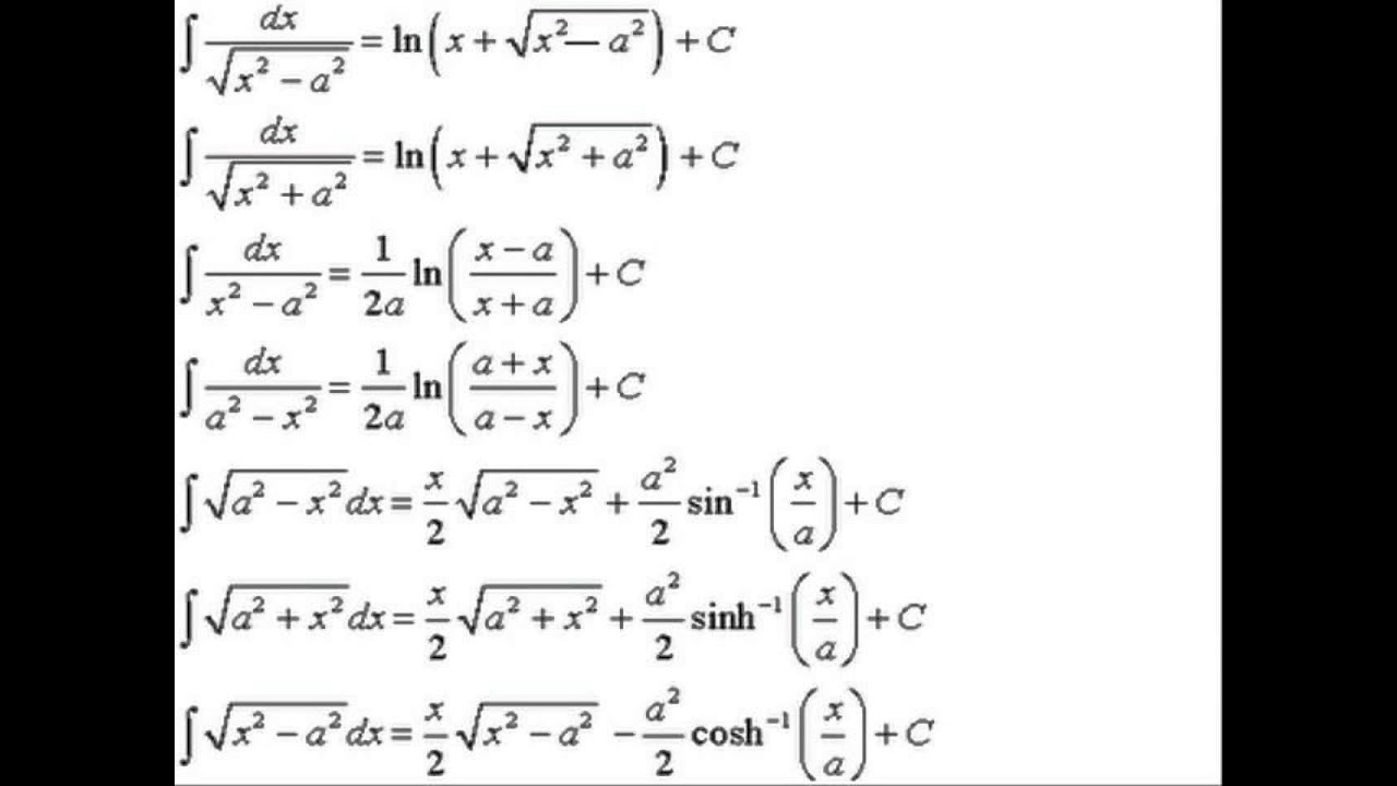 Integration Formulas {complete}
