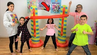 Kids Play Inflatable Limbo Challenge!! with HZHtube kids fun family game