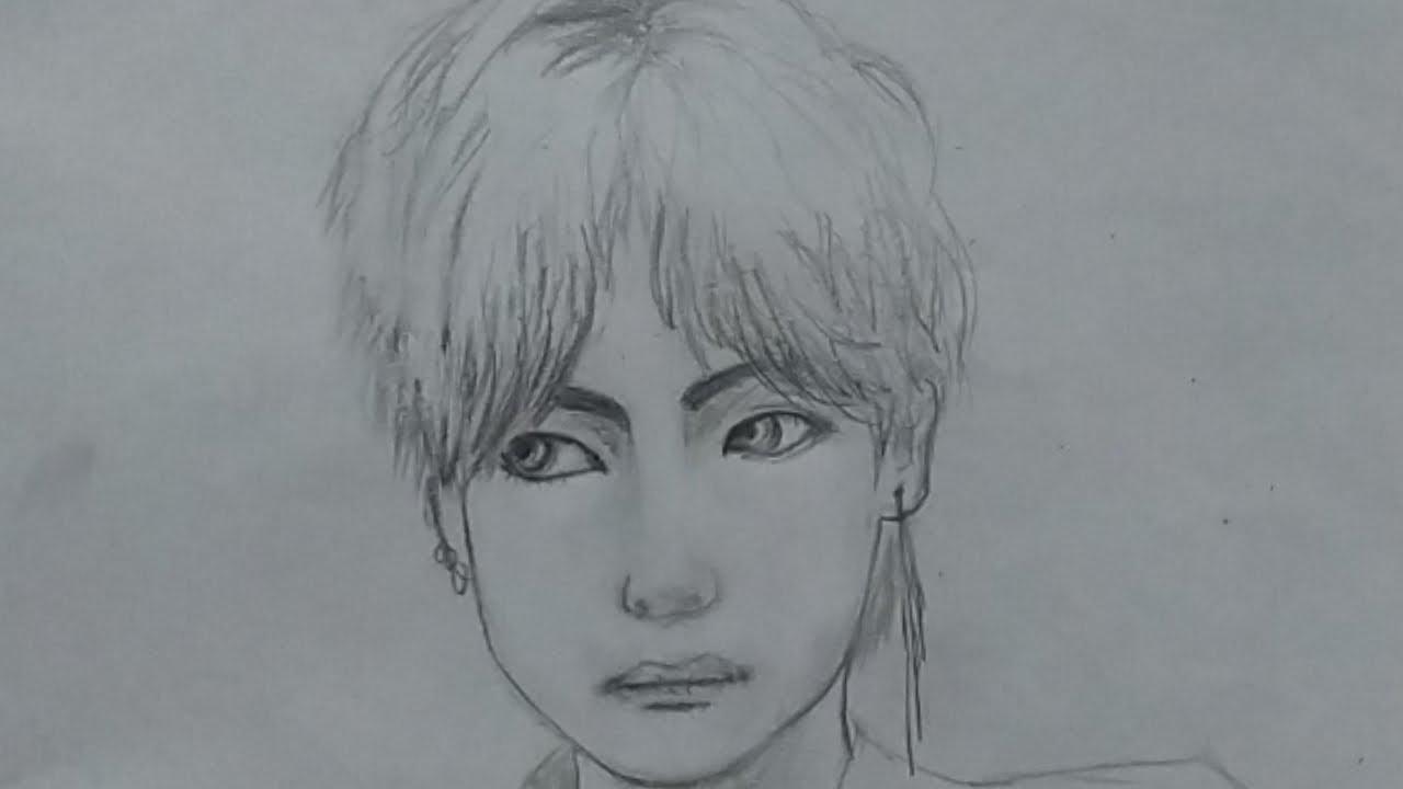 BTS v pencil drawing   sketch of bts kim taehyung - YouTube