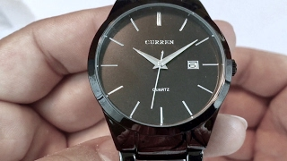 $17 Curren Big Dial Auto Date Black Stainless steel Strap Watch by Voeons - giveaway