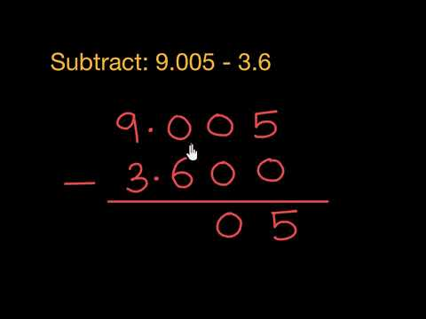 Subtracting Decimals: 9.005 - 3.6 (Hindi)