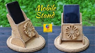 DIY Mobile Phone Holder With Jute and Cardboard | Mobile Stand Making Craft Idea | Jute Home Decor