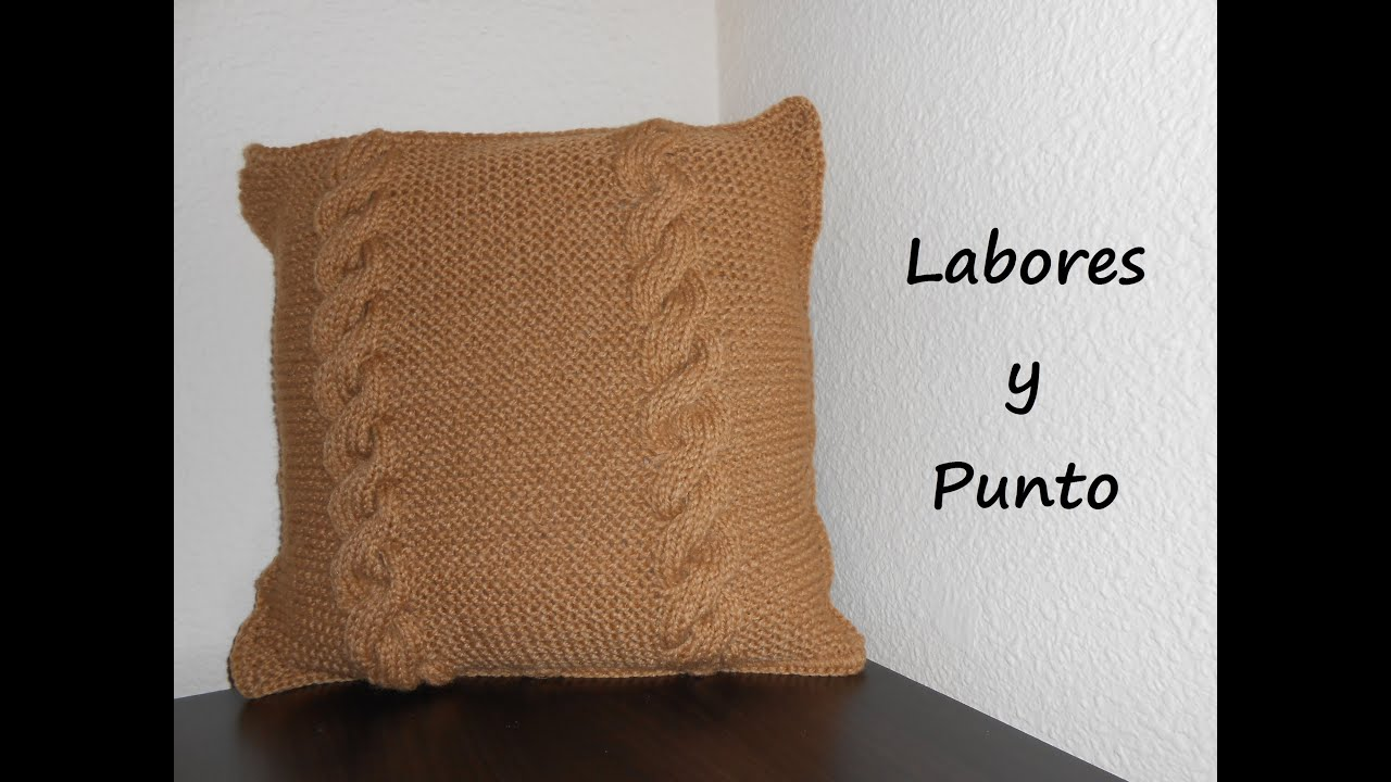 Aprende a tejer un cojin o almohada en dos agujas parte 1 - Hacer punto con dos agujas para principiantes ...