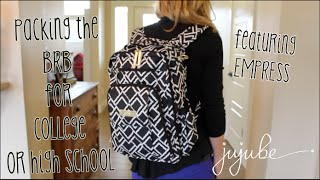JuJuBe: Empress BRB (Be Right Back) Backpack packed for a College or High School student