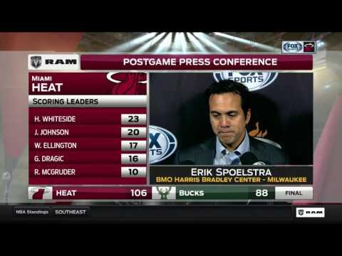 Erik Spoelstra -- Miami Heat at Milwaukee Bucks 02/08/2017