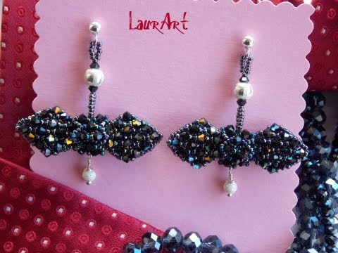 DIY TUTORIAL: Orecchini papillon di cristallo/Crystal papillon earrings (netted technique)