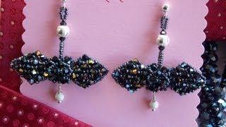 DIY TUTORIAL: Orecchini papillon di cristallo/Crystal papillon earrings (netted technique)