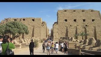 Rundgang Karnak Tempel bei Luxor Ägypten Säulenhalle Obelisk Skarabäus معبد الكرنك Temple of Karnak