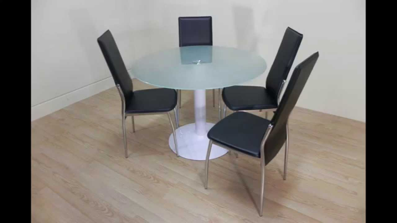 Pack mesa redonda de cristal 4 sillas salon comedor de for Sillas salon comedor