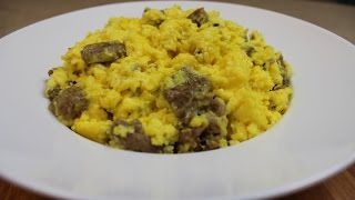 Quick and Simple Scrambled Eggs with Sausage and Cheese!