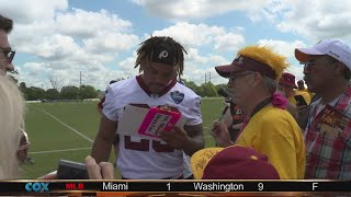 Rookie Derrius Guice creates buzz at Redskins Camp