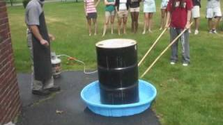 55 gallon steel drum can crush using atmospheric pressure