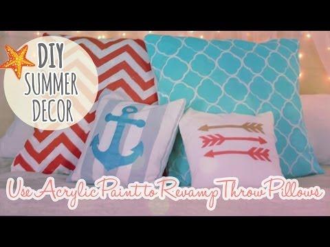 DIY Summer Decor Episode 1  Revamp and Paint Throw Pillows