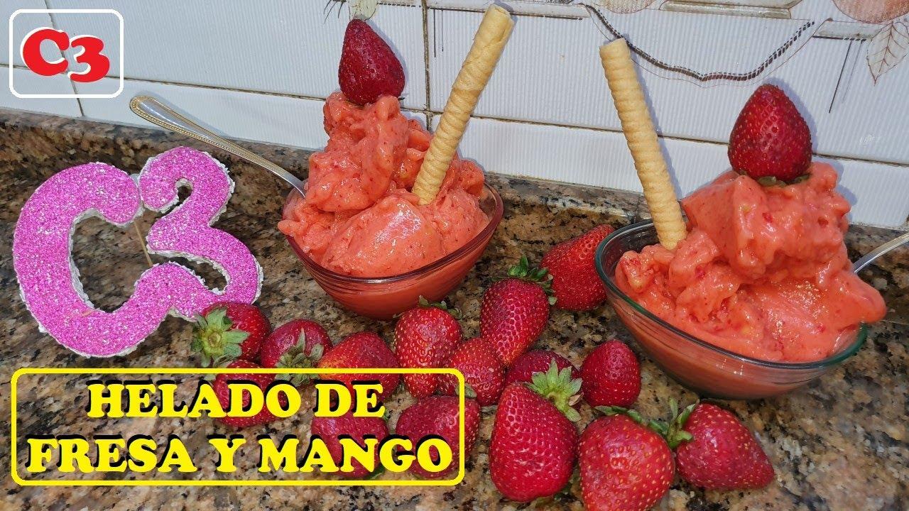 HELADO DE FRESA Y MANGO (ESPECTACULAR HELADO DE FRUTAS NATURALES)