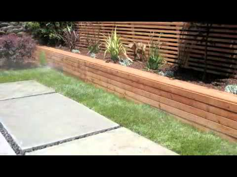 Modern Concrete Patio U0026 Redwood Seating   YouTube
