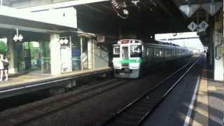 千歳線南千歳駅 貨物通過と快速エアポート(721系)到着