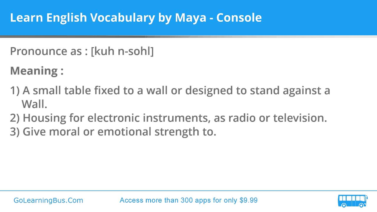 Learn English Vocabulary by Maya - Console - YouTube on