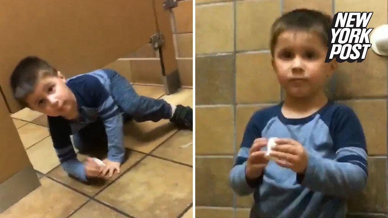 Adorable Kid Crawls Into Stranger S Stall At Chick Fil A