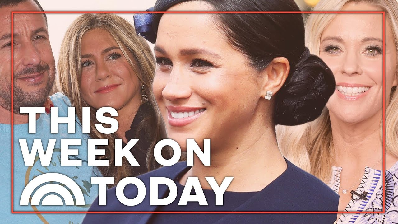 Meghan Markle S First Post Baby Appearance Jennifer Aniston Adam Sandler S Natural Chemistry