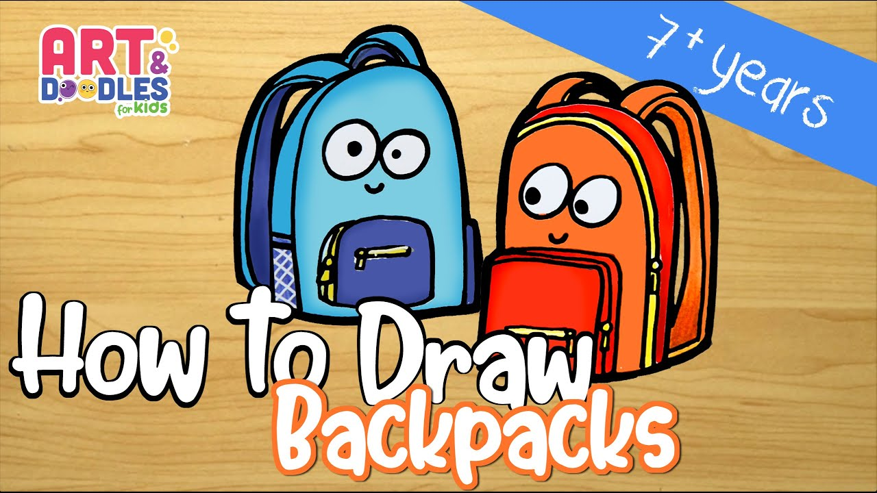 How to draw a backpack easy