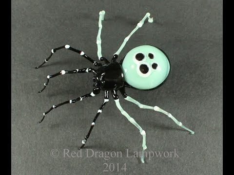 "Lampworked ""Green"" Ladybird Spider sculpture in soft glass"