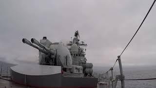 Пуск крылатой ракеты кораблем ТОФ в рамках маневров «Восток-2018»