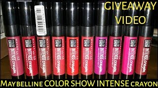 *NEW* MAYBELLINE COLOR SHOW INTENSE CRAYON REVIEW & SWATCH | *GIVEAWAY* (CLOSED)