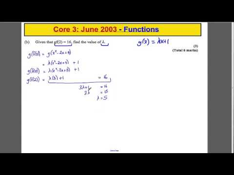 ALevel Maths Edexcel Core 3: Past Paper Questions  Functions