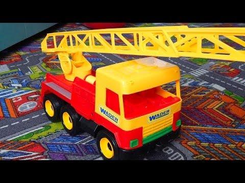 Машинки - спецтехника для детей. Пожарная машина Wader с лестницей. Развивающие игрушки для детей