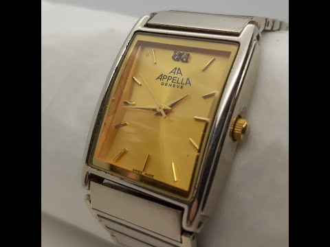 Appella Geneve Mens Wristwatch Quartz Classical Bracelet Calibre AL35E Battery