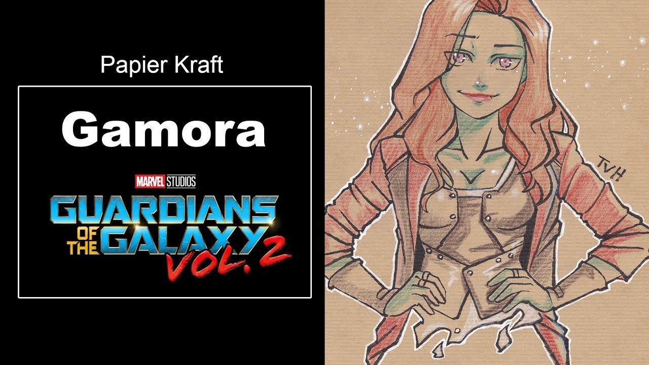 Dessiner Gamora Au Papier Kraft Les Gardiens De La Galaxie 2