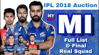 IPL 2018 Auction : MI - Final Full List of Players & Real Squad | Mumbai Indians