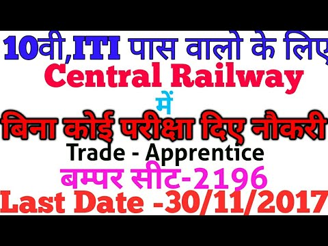 Central Railway Apprentice Recruitment online,Seat- 2196 without exam,