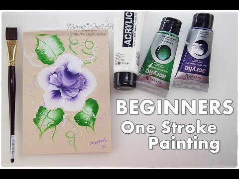 BEGINNERS One Stroke Flower Painting Technique ♡ Maremi's Small Art ♡