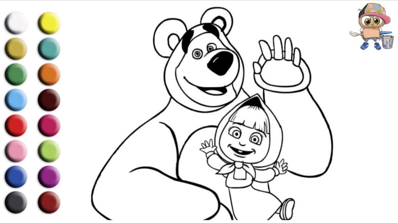 Раскраска для детей МАША И МЕДВЕДЬ. Мультик-раскраска ...