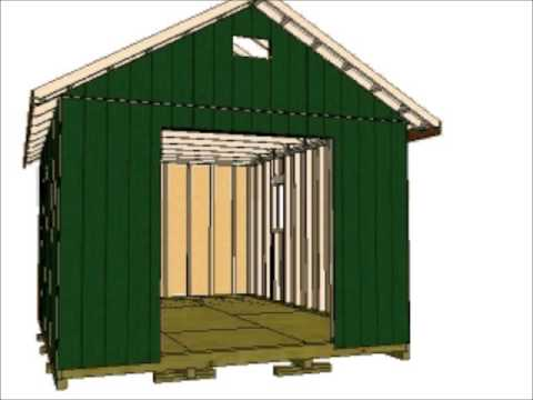 12x16 gable storage shed youtube for Gable barn plans