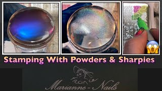 Stamping With Powders & Sharpies   NEW Marianne Nails Stamping Plate   Negatif On My Nails Review