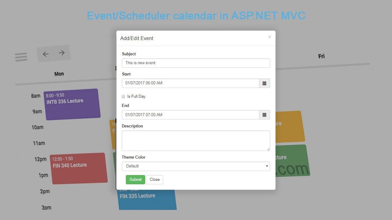 CRUD operation on fullcalendar in ASP NET MVC