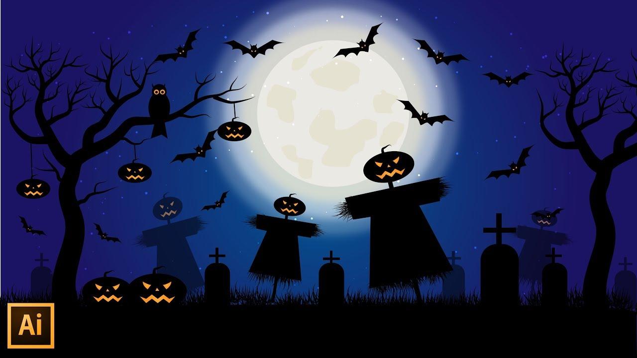 halloween night sky illustration
