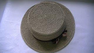 Вяжем  летнюю шляпку из пряжи  рафия крючком  .