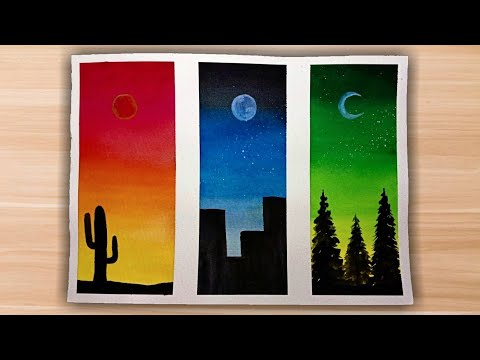 Easy Watercolor Painting Ideas For Beginners Step By Step Tutorial Simple Silhouette Paintings Youtube