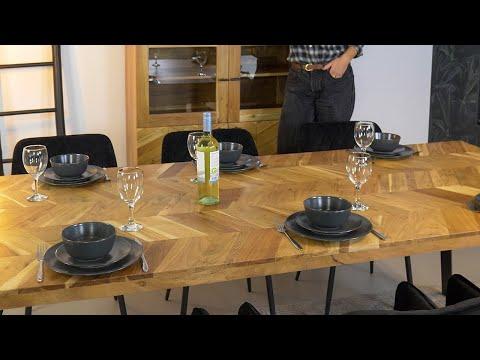 Industriële eettafel visgraat Hunter acaciahout 230 x 100 cm
