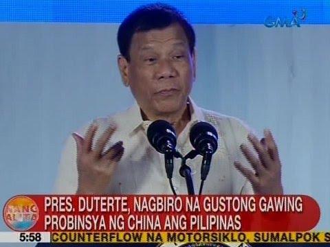 UB: Pres. Duterte, nagbiro na gustong gawing probinsya ng China ang Pilipinas