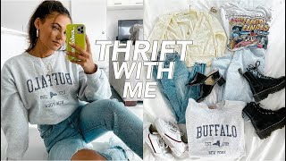 THRIFT WITH ME + HUGE CLOTHING HAUL (try-on)