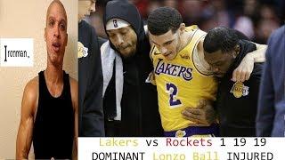 Lakers vs Rockets 1 19  Lonzo Ball vs James Harden INJURED Kuzma  Ironman theLottory Jmvol