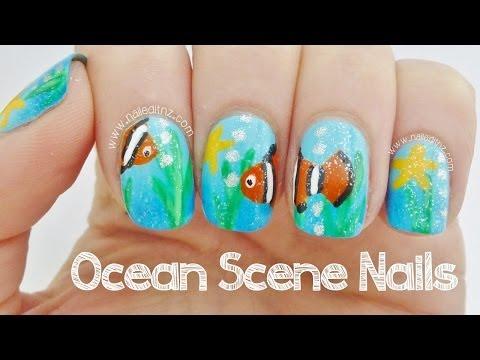Ocean Scene Nail Art