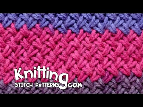 How To Weave Knitting Stitches Together : Woven Basket Knitting - YouTube
