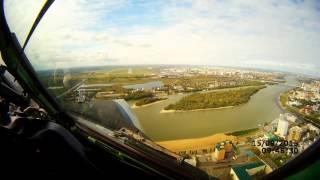 Омск, посадка из кабины самолета (ускорил)